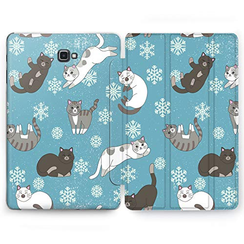 Wonder Wild House Cats Samsung Galaxy Tab S4 S2 S3 A E Smart Stand Case 2015 2016 2017 2018 Tablet Cover 8 9.6 9.7 10 10.1 10.5 Inch Clear Animals Winter Snowflakes Kittens Furry Meow House Pet Girly
