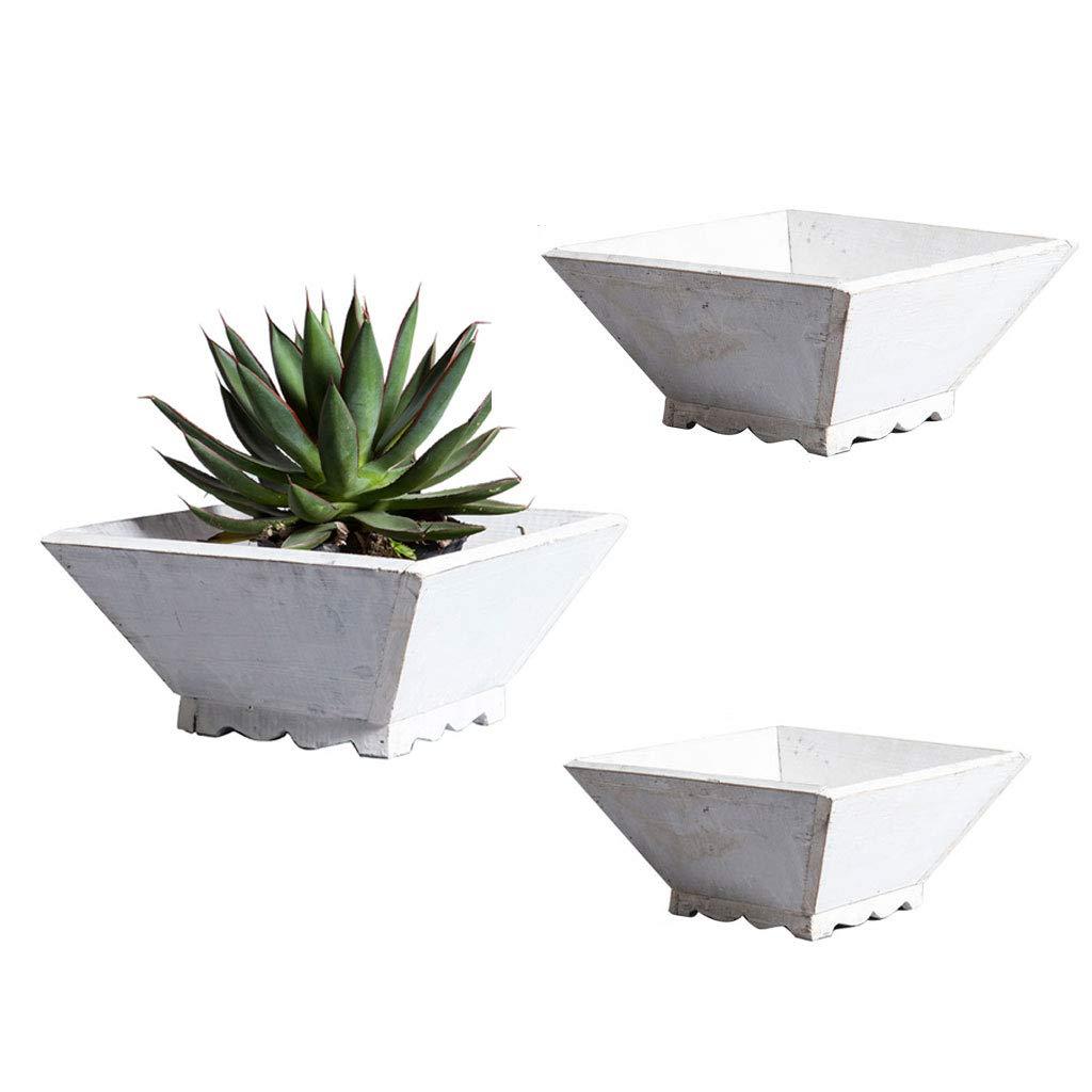 植物のポット3のセット、花瓶の容器ガーデンの装飾屋外と屋内のデスクトップのデコレーションflowerpotの容器 (色 : 白) B07K8GC5XQ 白