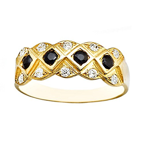 Bague 18k or diamants zircone cubique saphirs [AA6979]