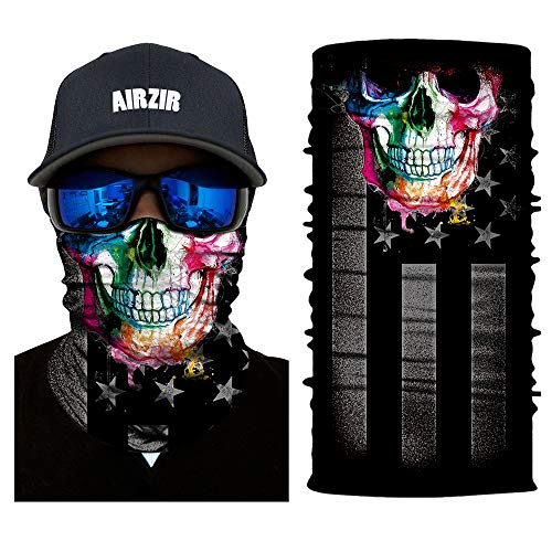 Skull Stretch Face Mask - Airzir Skull Face Mask Premium Breathable Seamless Tube Motorcycle Face Mask Wind Dust UV Protection Moisture Wicking Microfiber Face Mask for Motorcycle Riding Cycling Hiking Climbing (Flag-538)