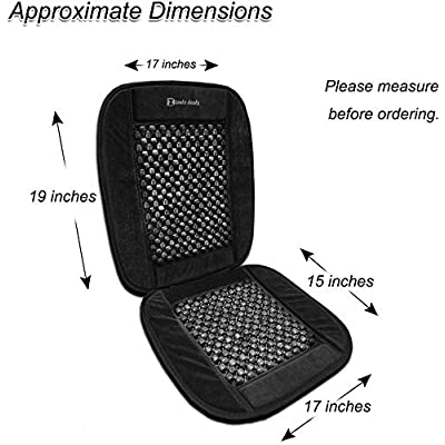 Zento Deals Black Wooden Beaded Plush Velvet Seat Cover Premium Quality Ultra Comfort Massage Cool Car Seat Cushion 35