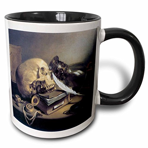 (3dRose BLN Assorted Works Of Fine Art Collection - A Vanitas Still Life by Pieter Claesz - 15oz Two-Tone Black Mug (mug_130145_9))
