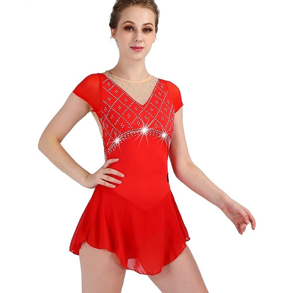 フィギュアスケートドレス女子女の子アイススケートドレス赤高弾性トレーニング競技会スケートウェア速乾性解剖学的デザインクラシックセクシーノースリーブ レッド Child6