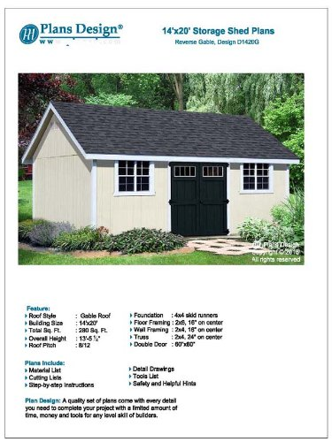 Plans design d1420g how to build a storage shed 14 39 x 20 for Building a shed style roof