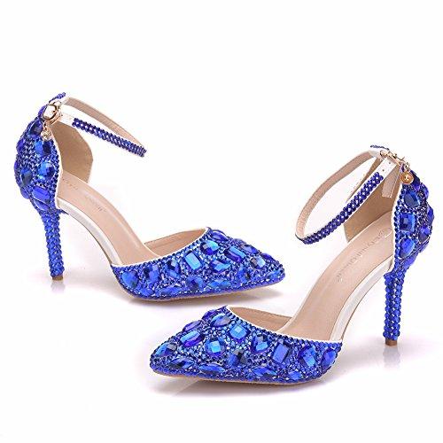- Royal Blue Rhinestone Sandals Thin High Heels Pointed Toe Sandals Blue Crystal Heels Shoes Fashion High Heel Shoes (40 M EU / 8.5 B(M) US, Blue Shoes)