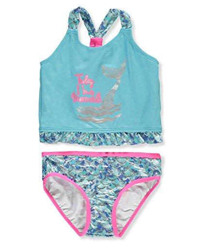 Pink Platinum Little Girls' Mermaid Foil Tankini, Blue, 6X - Girls 6 6x Swimsuit
