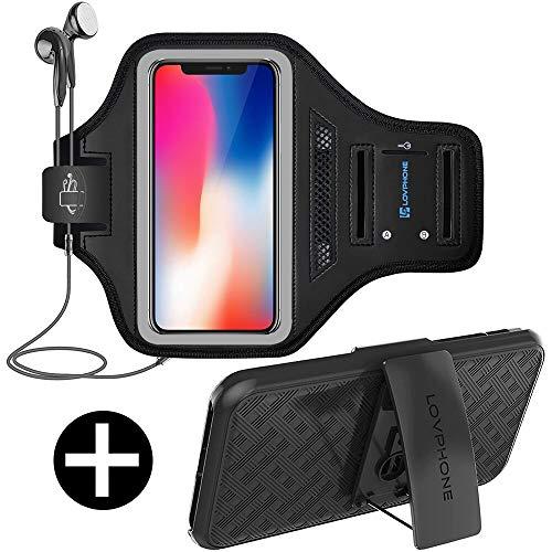 LOVPHONE iPhone X/XS Armband Sport Running Exercise Gym Sportband Case for iPhone X/iPhone Xs,with Key Holder & Card Slot,Armband with an Belt Clip Case Set