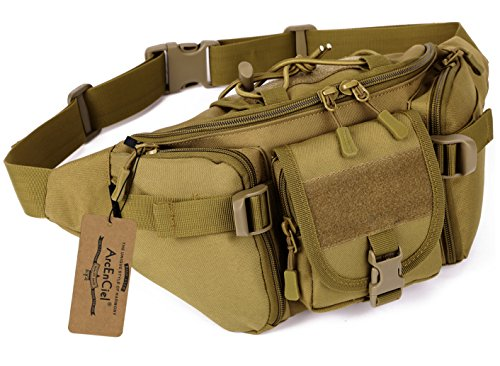 ArcEnCiel Water Resistant Tactical Waist Pack Bag Military Fanny Packs Hip Belt Bag Pouch for Hiking Climbing Outdoor Bumbag (Coyote Brown)