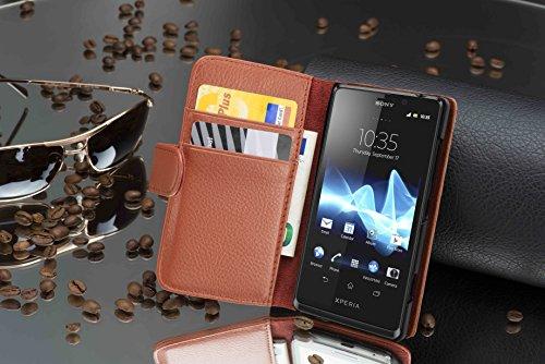 Cadorabo–Book Style Funda para Sony Xperia T–Case Cover Carcasa Funda Con Tarjetero en óxido de Negro MARRÓN-COGNAC