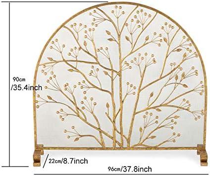 大きな金の暖炉スクリーン、錬鉄製の安全な暖炉フェンススパークガードカバー、屋外の金属装飾メッシュ、37.8