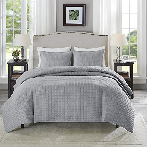 Comfort Spaces - Kienna Quilt Mini Set - 2 Piece - Gray- Stitched Quilt Pattern