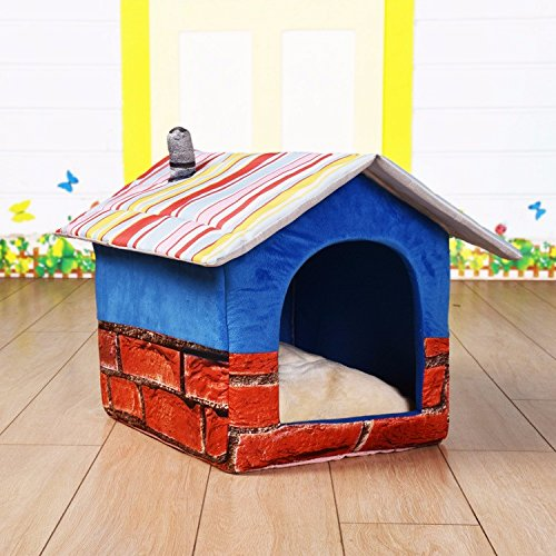 bluee,M 403640cm Pet Online Pet house can be folded easy to dismantle resistant to clean cat and dog four seasons warm pet nest, M  40  36  40cm, bluee