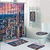 Bathroom 5 Piece Set shower curtain 3d print Multi Style,Modern,Atlanta City Skyline at Sunset with Hazy Light Georgia Town American View,Baby Pink Blue Silver,Bath Mat,Bathroom Carpet Rug,Non-Slip,Ba
