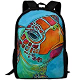 Most Durable Lightweight Travel Hiking Backpack Daypack One Size - Seaglass Sea Turtle Painting