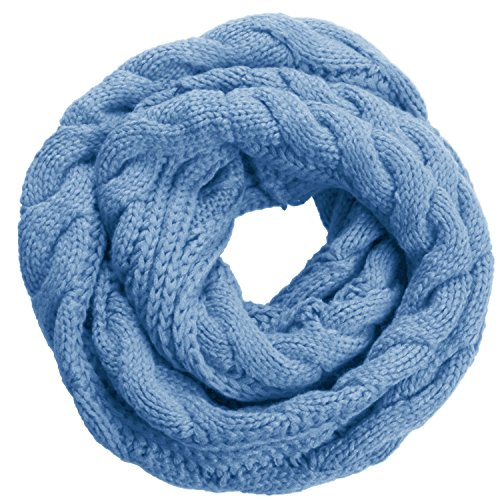 - NEOSAN Womens Thick Ribbed Knit Winter Infinity Circle Loop Scarf Twist Niagara Blue