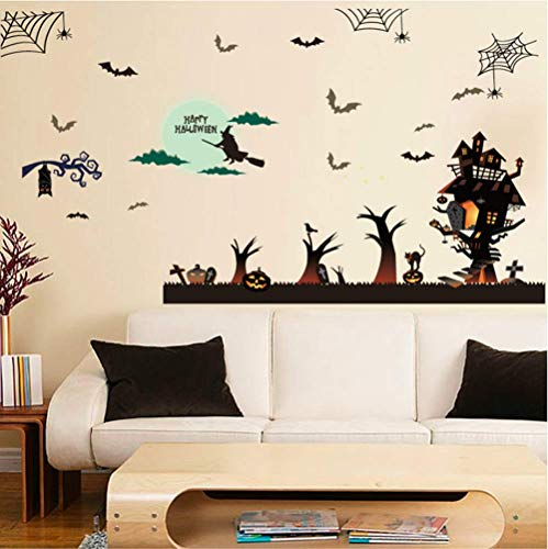 Wall Stickers Halloween Haunted House Window Cling Halloween Wall Art Decals Halloween Witch Bat for Living Room Bedroom Kid's Room Nursery Ship Window