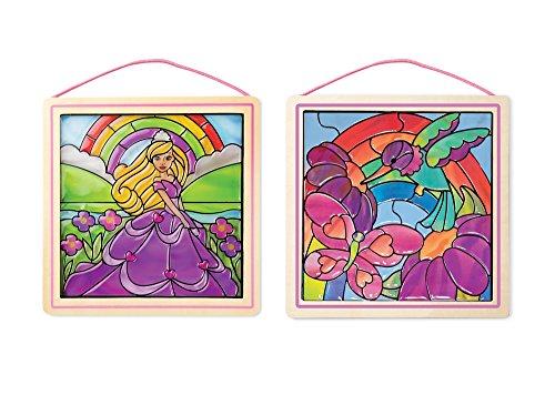 Melissa & Doug Stained Glass Made Easy Activity Kits Set - Rainbow Garden and Princess (Craft Garden Kit)