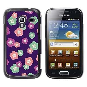 TopCaseStore / la caja del caucho duro de la cubierta de protección de la piel - Purple Pink Teal Pink - Samsung Galaxy Ace 2 I8160 Ace II X S7560M