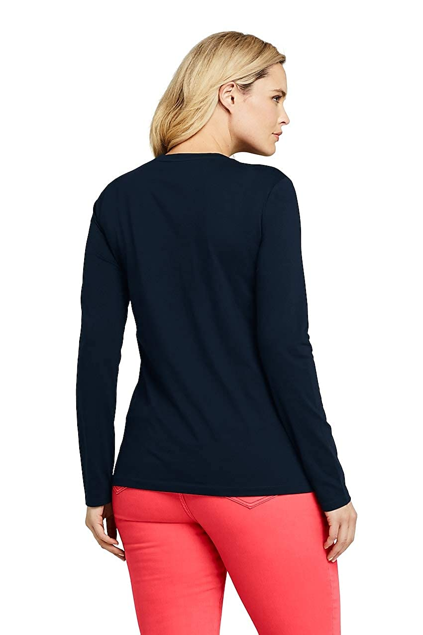b75c03ae3c3c Lands' End Women's Plus Size Petite Supima Cotton Long Sleeve T-Shirt -  Relaxed Crewneck, 3X, Radiant Navy at Amazon Women's Clothing store: