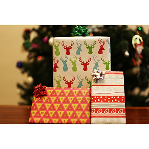 Modern Christmas Holiday Gift Wrapping Paper Rolls - Pack of 3 Rolls 120SQFT Reindeer Snowflakes and Stripes (Stripe Wrap Gift Christmas)