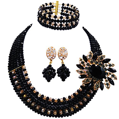aczuv 5 Rows Nigerian Beaded Jewelry Set Women African Wedding Beads Crystal Necklace and Earrings (Black and Gold AB)