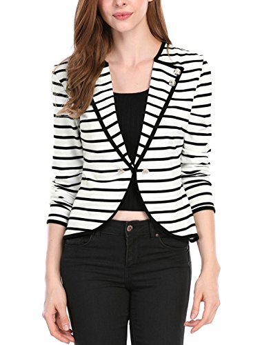 Allegra K Women's Notched Lapel Button Decor Lightweight Striped Blazer Jacket Black White L (US 14) ()