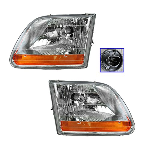 (Headlight Headlamp Globe Pair Set of 2 for 02-03 Ford F150 Harley Davidson )