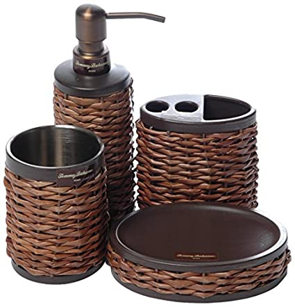 fb20450796d9 Amazon.com: Tommy Bahama 4 Piece Retreat Wicker Bath Set Brown: Home ...
