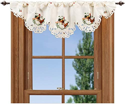 Linens, Art and Things Embroidered 14 X 54 Inch Rooster Hen Window Valance