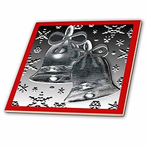 3dRose Dawn Gagnon Photography and Designs-Holidays - Silver Bell design with red border and snowflakes - 6 Inch Glass Tile (Red Dawn Border)