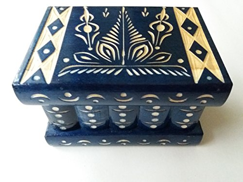 New blue beautiful special handcarved,handmade wooden puzzle box,secret box,magic box,jewelry box,brain teaser,storage box,flower designe box,jigsaw puzzle