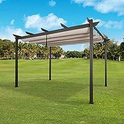 Garden and Outdoor Ulax Furniture Outdoor 10'x13′ Extra Large Aluminum Pergola with Sun Shade Gazebo Beige Canopy, UV Resistant Fabric pergolas