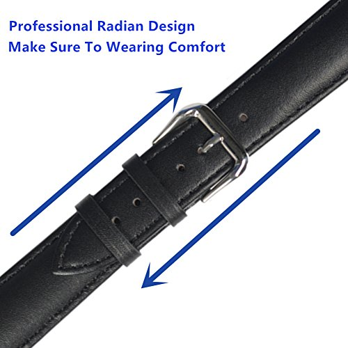 Leather Watch Strap - Choices of Color & Width (18mm,20mm or 22mm) STYLELOVER Genuine Cowhide Leather Watch Band with Stainless Buckle