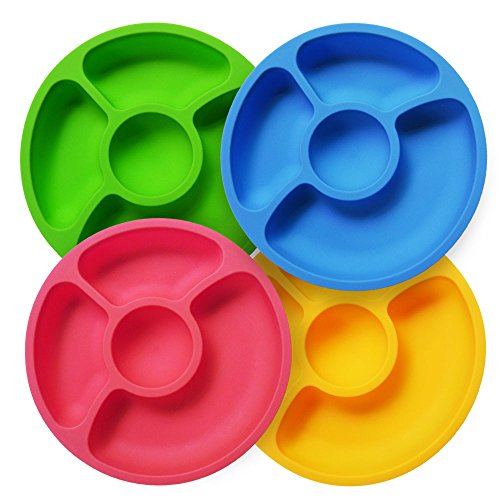 Silicone Divided Toddler Baby Plates - 4 Pack Portable Snack Dishes for Kids Children and Elderly BPA Free (Older Fruit Dessert Bowl)