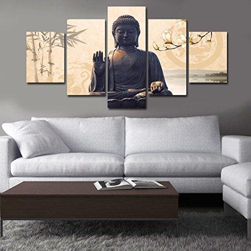 Shuaxin Large 5 Piece Buddha Wall Art Picture Modern Home Decor Living Room Bedroom Canvas Print Religion B Frameless