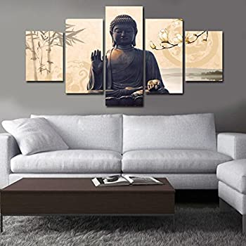 Great Shuaxin Large 5 Piece Buddha Wall Art Picture Modern Home Decor Living Room  Bedroom Canvas Print