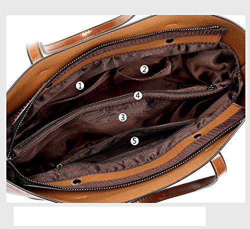 Di Tote Bag Donne Marrone Pelle Elaborazione Dell'unità Messaggero marrone Del Big Tracolla In Delle Improvingss Copertina Spalla A Borse C7g1dd