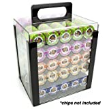 1000 count poker chips - Brybelly Acrylic Poker Chip Carrier (1000-Count) with Chip Trays