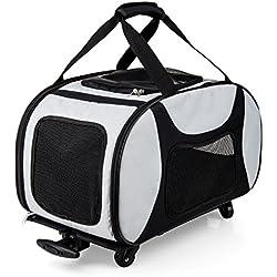 eleQuint Pet Travel Carrier Roller/Stroller with Removable Sherpa Pet Mat