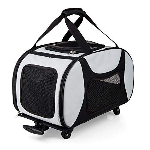 Wheeled Pet Carrier (eleQuint Soft Sided Travel Pet Carrier with Detachable Wheel Platform and Fleece Pet Mat)