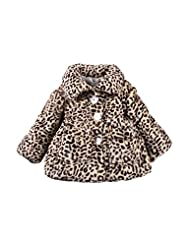 uxcell® Girl Long Sleeve Leopard Button Down Plush Coat w Bag