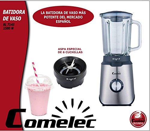 Batidora de vaso 1,5L 1580W Acero inox. BL 7145 COMELEC: Amazon.es: Hogar