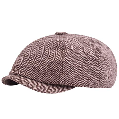 - iHHAPY Newsboy Baker Boy Cap Casual Beret Herringbone Tweed Flat Cap Octagonal Cap Stripe Unisex Gatsby Hat Kniting Hat (Coffee, one Size)