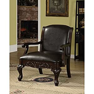 Furniture Of America Antique Dark Cherry Accent Living Room Chair Kitchen Dining