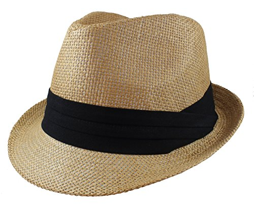 (Gelante Summer Fedora Panama Straw Hats with Black Band M215-Tan-S/M)