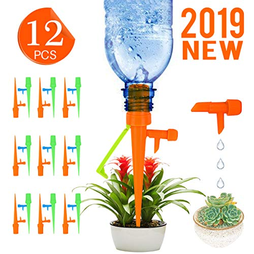 (Plant Self Watering Spikes Devices with Adjustable Slow Release Control Valve Switch & Anti-Tilt Bracket , Self Irrigation Watering Drip Bulbs Globes Stakes System Suitable for Outdoor Indoor Plants)