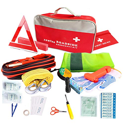 - Auto Emergency Kit Frist Aid Kit for Cars and Trucks Roadside Assistance Auto Car Emergency Survival Kit Safety Kit -16.4 Feet Jumper Cable, Reflective Triangle,Tow Rope and Vehicle Survival Tools