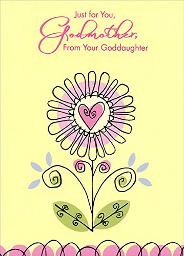 Heart Godmother (Black Trim Heart Flower: Godmother - Designer Greetings Mother's Day Card)