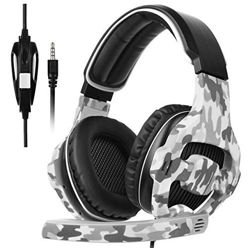 2017 New Sades SA810 Camouflage 3.5mm Stereo Sound PC Gaming Headset Over Ear Gaming Headphone with Noise Isolation Microphone for PS4/Xbox One/Computer/phones(Camouflage) (Camo Xbox 360 Headset)