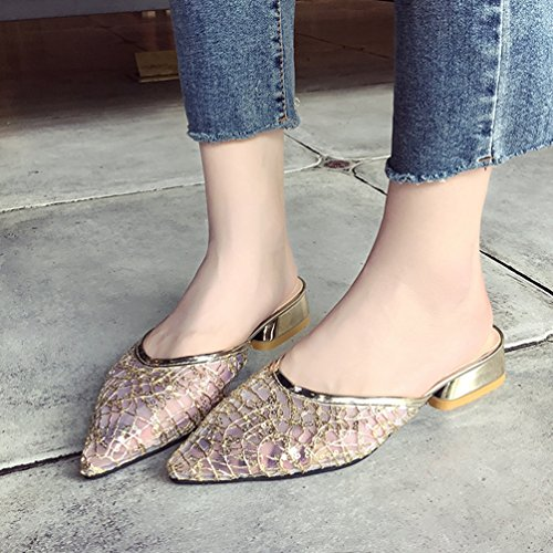 Tongs Net Mules Chaussures Sandales Casual Femmes Respirant Or Mode Talons Épais Fil Claquettes à YqqIBZ